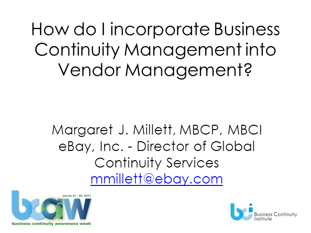 How do I incorporate BC Management into Vendor Mgmt?""