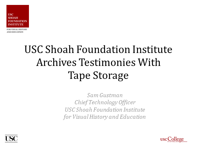 USC Shoah Foundation Archives Testimonies With Tape Storage