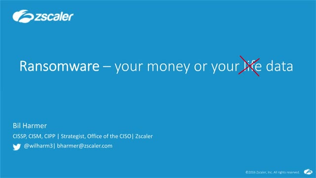 RANSOMWARE: Your Money or Your Data Protecting the Public Sector from Ransomware
