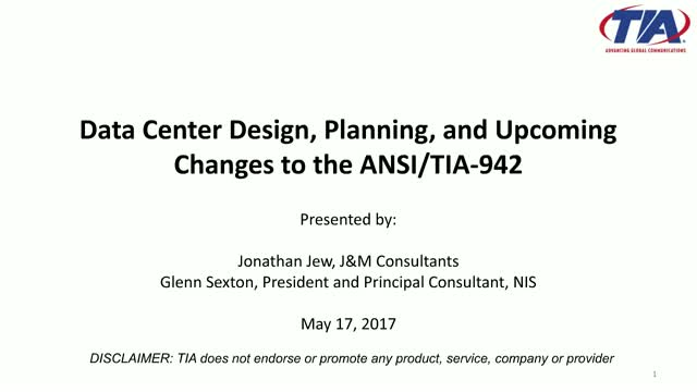 Webinar: Data Center Design, Planning, and Upcoming Changes to the ANSI/TIA-942