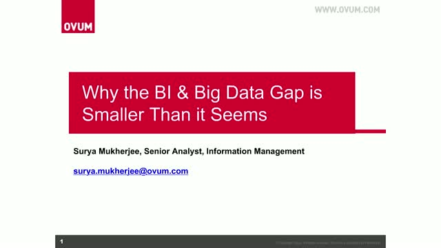 Why the BI & Big Data Gap is Smaller Than it Seems
