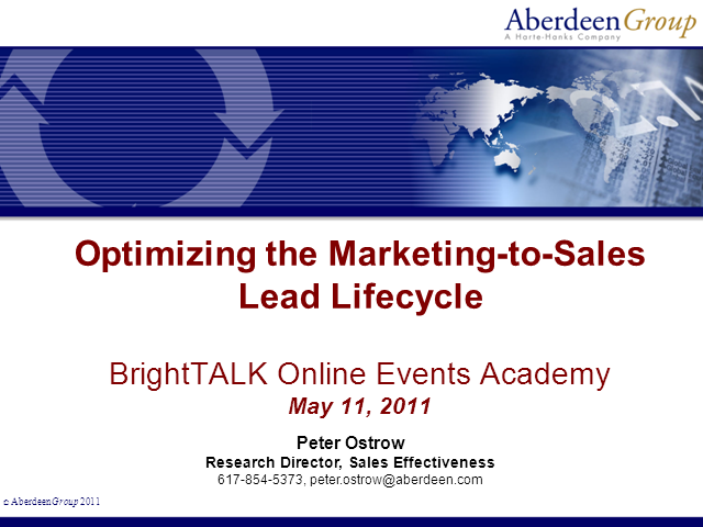 Optimizing the Marketing-to-Sales Lead Lifecycle