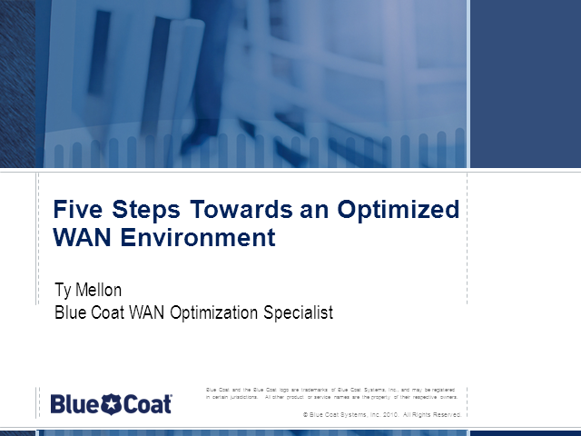 Five Steps towards an Optimized WAN Environment