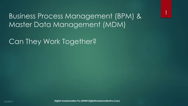 Can Business Process Management and Master Data Management work together?