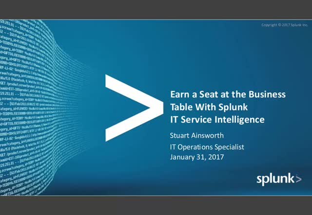 Earn A Seat At The Business Table With Splunk Itsi