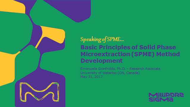 Basic Principles of Solid Phase Microextraction (SPME) Method Development