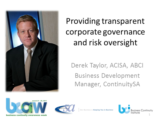 Providing transparent Corporate Governance and Risk Oversight