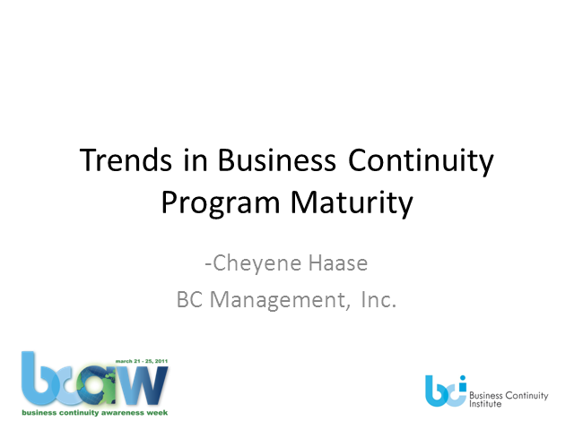 Trends in Business Continuity Program Management Maturity