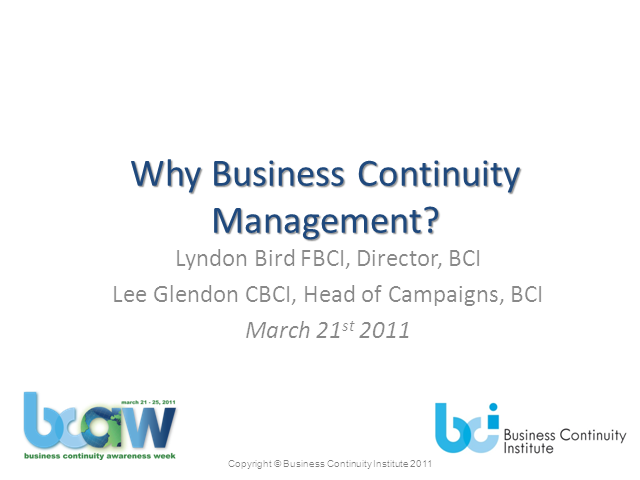 Why do Business Continuity Management?