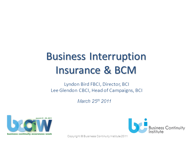 Business Continuity & Business Interruption Insurance