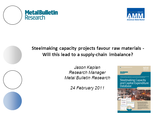 Steelmaking capacity projects favour raw materials .....