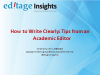Webinar - How to Write Clearly: Tips from an Academic Editor