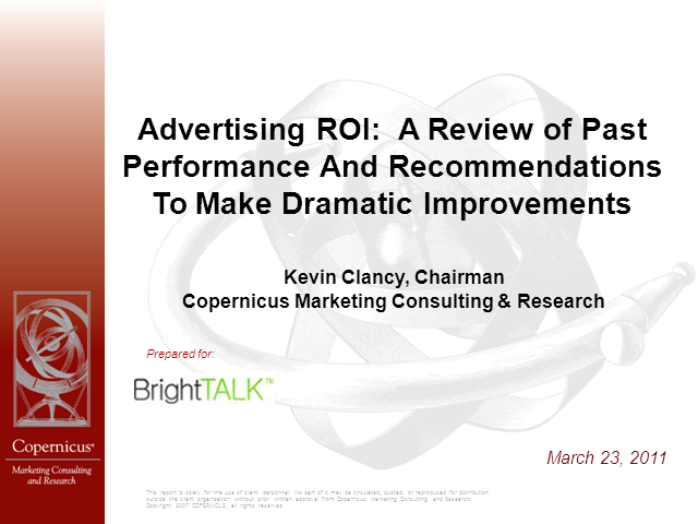 The Past, Present, and Future of Advertising ROI