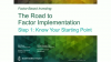 The Road to Factor Implementation: Step 1 - Know Your Starting Point