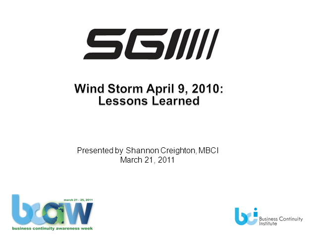 SGI BCP Lessons Learned