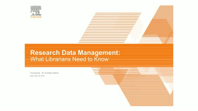 Research Data Management: What Librarians Need to Know