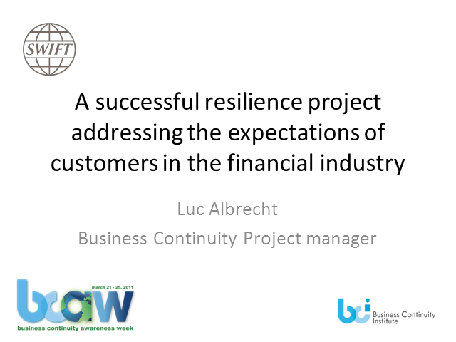 Successful Resiliency Project for Financial Industry