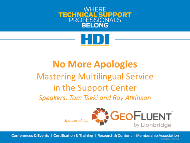 No More Apologies: Mastering Multilingual Service in the Support Center