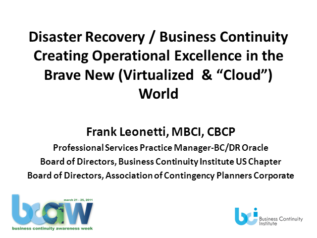 Creating Op Resilience in the Brave New Virtualized & Cloud World
