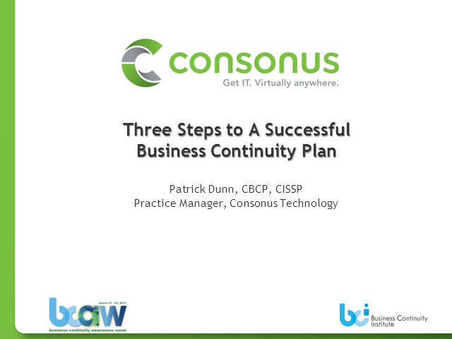 Three Steps to a Successful BC Plan