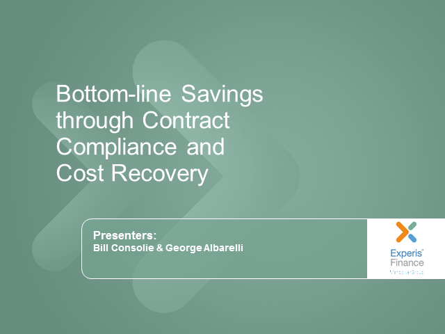 Bottom-line Savings through Contract Compliance and Cost Recovery