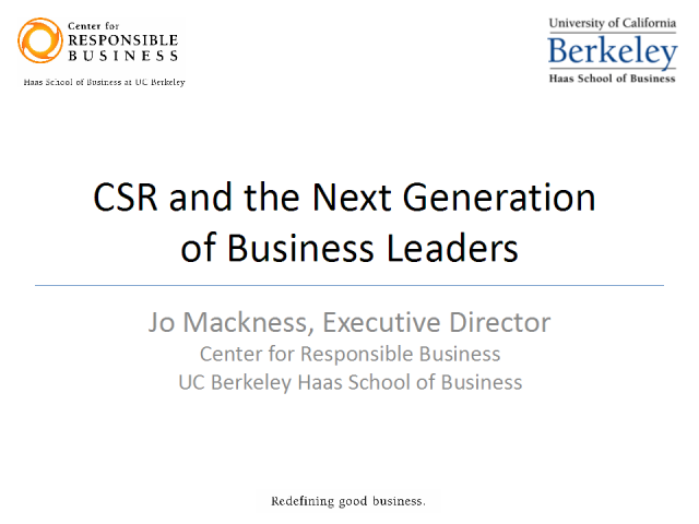 CSR and the Next Generation of Business Leaders
