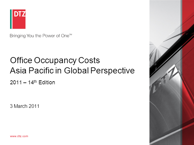 Global Occupancy Costs - Offices (GOCO) 2011 - Asia Pacific focus