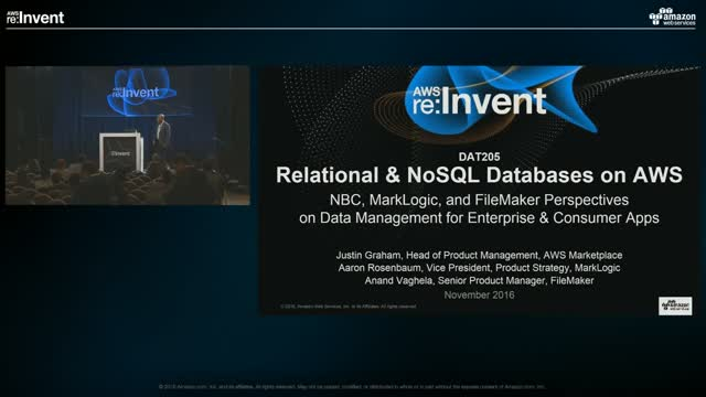 [LIVE Presentation: AWS re:Invent 2016] Relational and NoSQL Databases on AWS