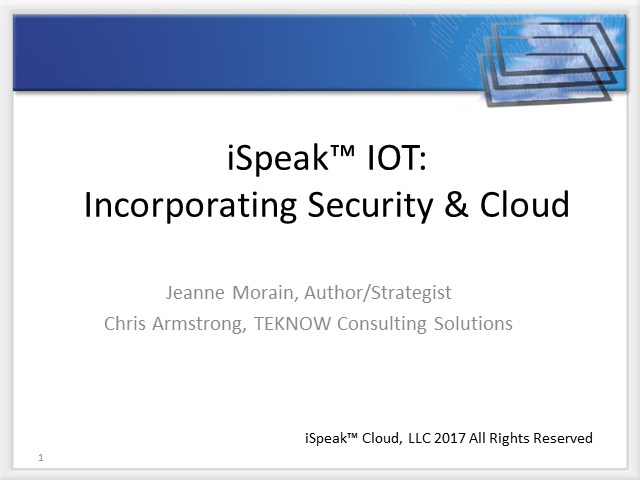 iSpeak IOT: Security & Cloud