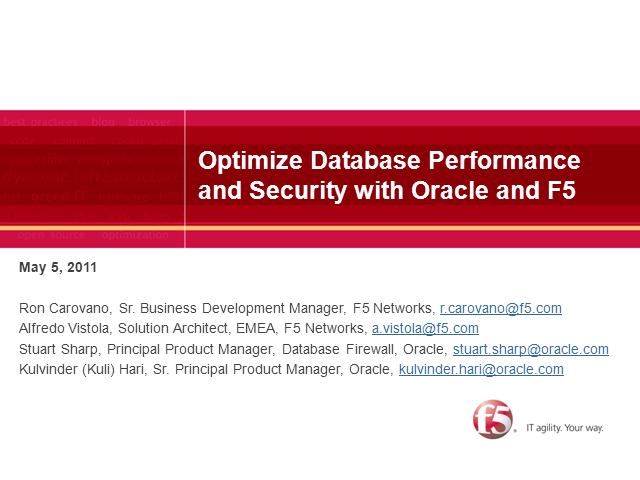 Optimize Performance & Security w/ F5 - Oracle Database Solutions