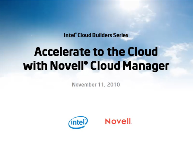 Accelerate to the Cloud with Novell Cloud Manager