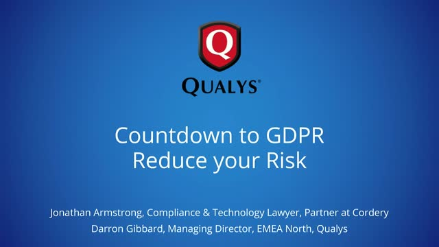 Countdown to GDPR - Reduce your Risk