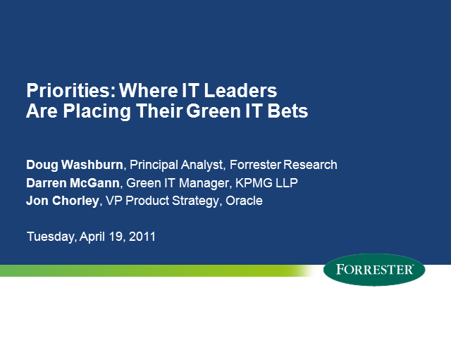Priorities: Where IT Leaders Are Placing Their Green IT Bets