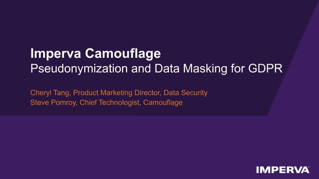 Tech Demo - Pseudonymization and Data Masking for the GDPR
