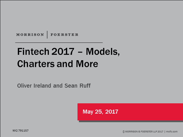 Fintech 2017 models, charters and more