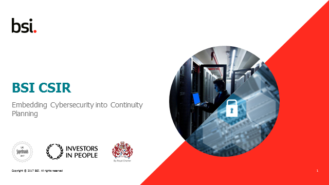 Embedding cyber security into continuity planning