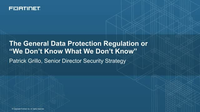 "The General Data Protection Regulation or ""We Don't Know What We Don't Know"""