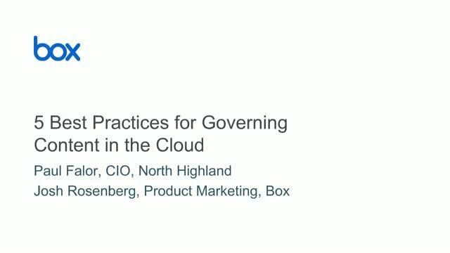 5 Best Practices for Governing Your Content in the Cloud