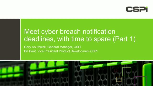 Meet GDPR Cyber Breach Notification Deadlines - With Time to Spare