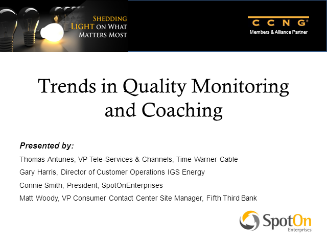 Trends in Quality Monitoring and Coaching