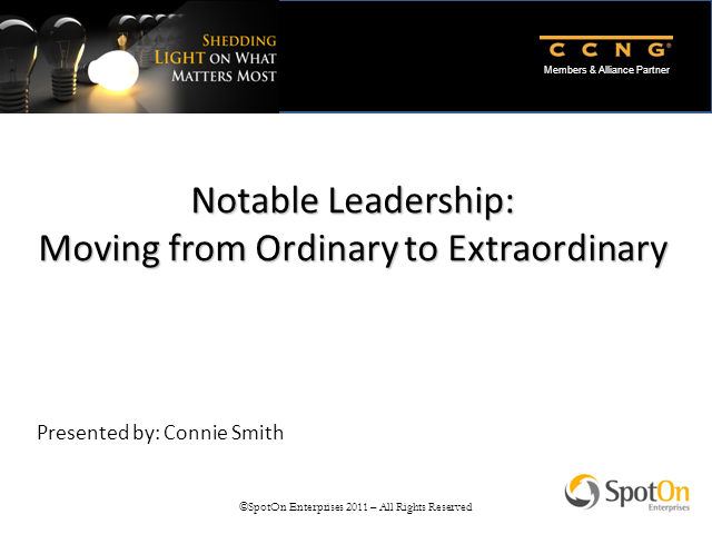 Magnet Program webcast: Leadership-From Ordinary to Extraordinary
