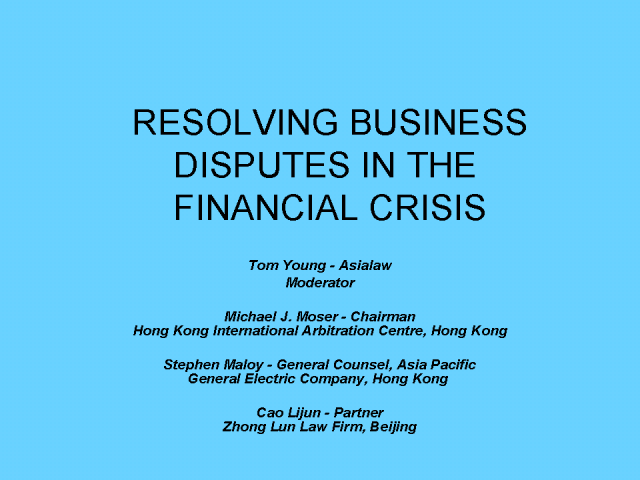 Dispute resolution in the financial crisis