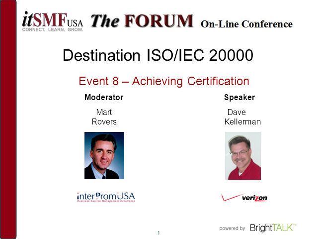 Destination ISO/IEC 20000: Achieving Certification