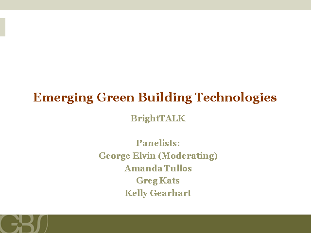 Emerging Green Building Technologies
