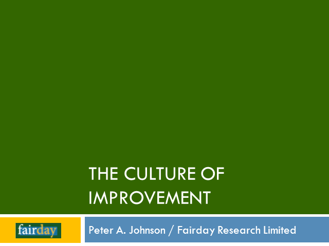 The Culture of Improvement