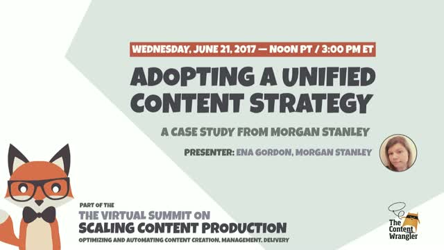 Adopting a Unified Content Strategy at Morgan Stanley