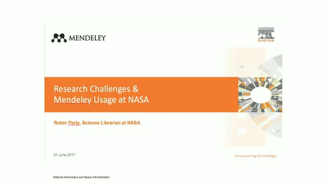 Research Challenges & Mendeley Usage at NASA