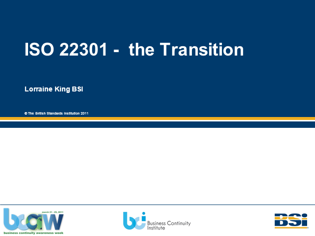 ISO 22301 – The transition
