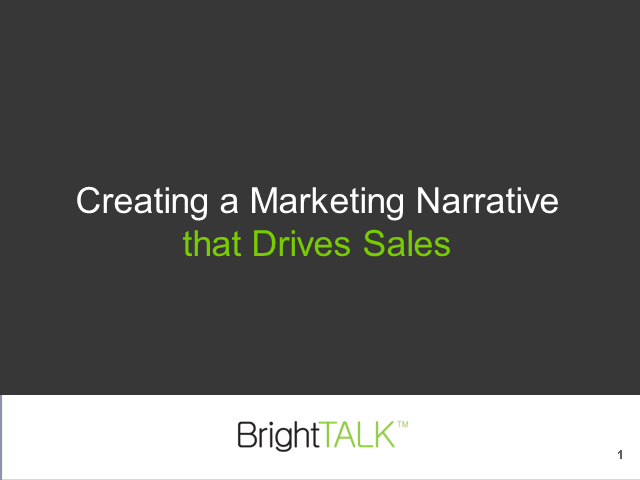 Creating a Marketing Narrative that Drives Sales