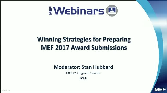 Winning Strategies for Preparing MEF 2017 Award Submissions